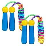 Junlic Cuerda de Saltar para Niños, 2 Pack Cuerda de Algodón Ajustable Cuerda Saltar con Mango Madera Skipping Rope Kids para Fitness, Pérdida de Grasa o Actividad al Aire Libre Azul