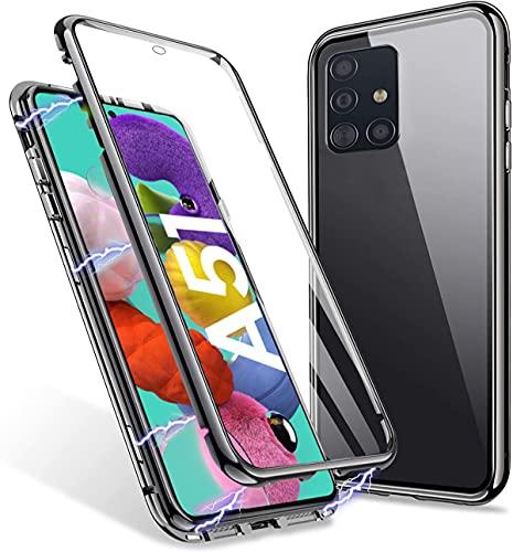Cover per Samsung Galaxy A51 Magnetica Custodia,Antiurto 360° Full Body Protezione Case,Adsorbimento Magnetico Bumper in Metallo Vetro Temperato Copertura Completa Cover per Samsung A51,Nero