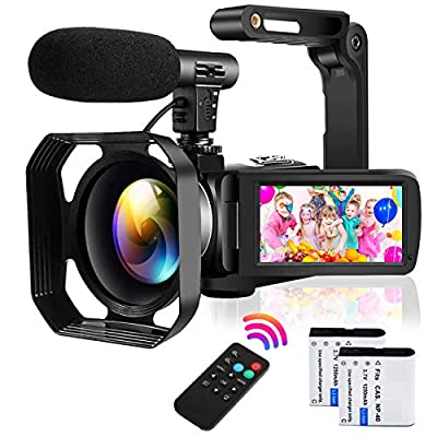 Video Camera Camcorder Full HD 1080P 30FPS 24MP Vlogging Camera for YouTube 16X Digital Zoom IR Night Vision Camcorder with Microphone Remote Control Lens Hood and 2 Batteries Time Lapse Webcam by YISENCE