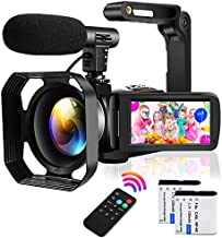 Video Camera Camcorder with Microphone Ultra HD 2.7K 30MP YouTube Vlogging Camera IR Night Vision 3.0 Inch IPS Touch Screen 16X Digital Zoom Camera with Handheld Stabilizer and Remote Control