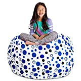 Posh Stuffable Kids Stuffed Animal Storage Bean Bag Chair Cover - Childrens Toy Organizer, X-Large 48' - Canvas Bubbles Blue and White
