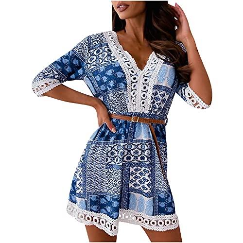 Damenmode Spitze V-Ausschnitt Halber Ärmel Kurzes Kleid mit Gürtel Casual Drucken Loses Spleißen Kleid(Blau,M)