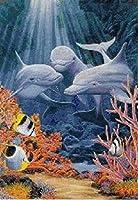 クロスステッチキャンバス初心者刺繍キットディープドルフィン40x50cmDIY刺繍を刻印するためのスターターキット大人と子供のための創造的な贈り物11CT