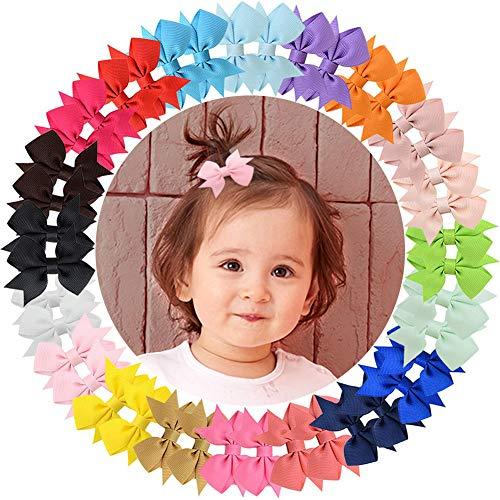 Mini-Haarschleifen aus Ripsband, Krokodilklemmen für Babys, Kleinkinder, Kinder, paarweise (20 Paar 811)