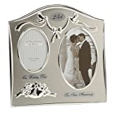 Cornice doppia argentata, per anniversario di matrimonio, con scritta '25th Silver Anniversary' (lingua italiana non garantita)