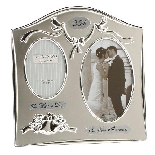 The Emporium Home - Marco de fotos para bodas de plata, color plateado