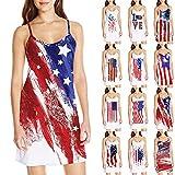 WoCoo Women Summer Mini Dress Independence Day Spaghetti Strap Sleeveless Dress American Flag Print Dress(C-White,Medium)