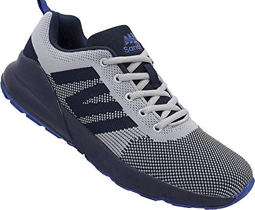 Herren Laufschuhe Sportschuhe Turnschuhe Runners Sneaker Schuhe Nr. 2255 (grau-Navy-royal, Numeric_45)