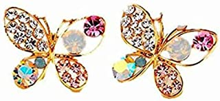 BESTPICKS Luxury Bright Colorful Crystal Simulated Pearl Gold Plated Butterfly Earring Gift for Women