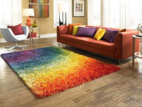 Loloi Barcelona Collection Bright Shag Area Rug, 3-Feet 9-Inch by 5-Feet 6-Inch, Rainbow