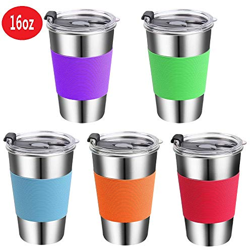 Stainless Steel Kids Cups with Lids,16oz Spill Proof Kids Smoothie Cups with Lids,Metal Kids Travel Tumblers with Lids,Unbreakable Kids Sippy Cups for Kids and Toddlers