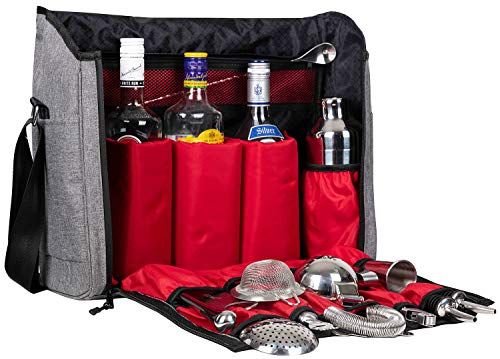 Jillmo Cocktail Shaker Set, 14-Piece Bartender Kit with Waterproof Bartender Travel Bag