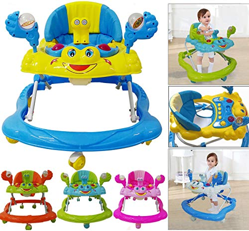 Baby Boy/Girl Walker First Steps Activity Bouncer Musical Toy Push Along Ride On Bright EB4U 5 Colors Pink, Blue, Orange, Green (Blue)