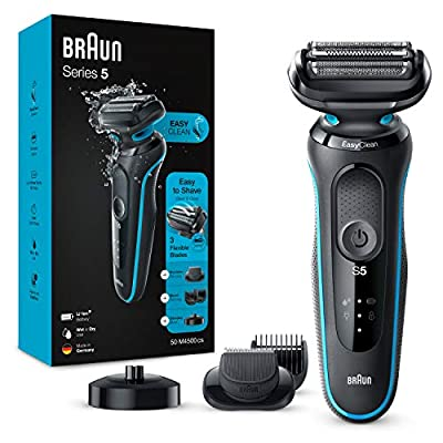 Braun Series 5 50-M4500cs Electric Shaver for Men with Charging Stand, Beard Trimmer, Wet & Dry, Rechargeable, Cordless Foil Razor, Mint