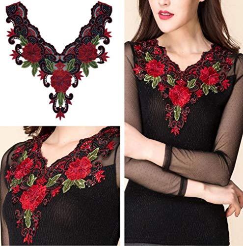 1 pieza de ropa de mujer bordada, cuello de encaje, apliques de costura, corte de tela, manualidades, manualidades, accesorios para vestidos de mujer