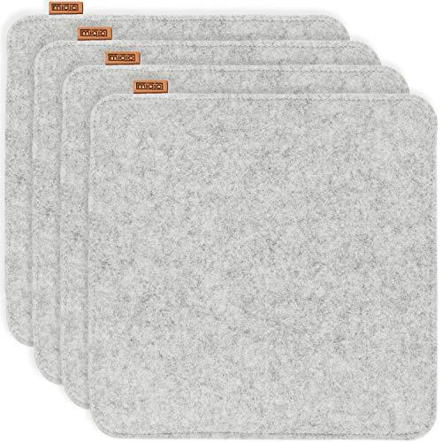 Miqio® Design Sitzkissen Rechteckig aus Filz 35x35 cm | 4er Set | Waschbare Stuhlkissen rutschfest | Gemütliche Sitzauflage für Bank und Stuhl | Hellgrau