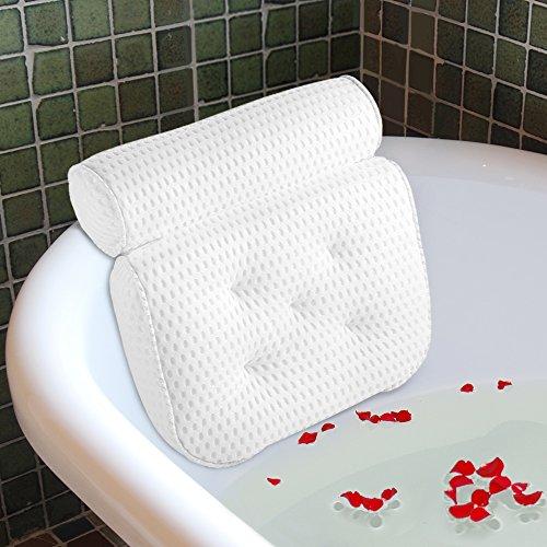Ecooe Komfort Badewannen Kissen Badekissen Optimales Badewannenkissen mit 5 Saugnäpfen Wannenkissen Nackenkissen Höchster Komfort für Kopf und Nacken Rutschfeste in Weiß