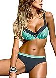 Bequemer Laden Damen Bikini Sets Bademode Badeanzug Push Up Bikini mit Verstellbarem Schulterriemen, Blau, M