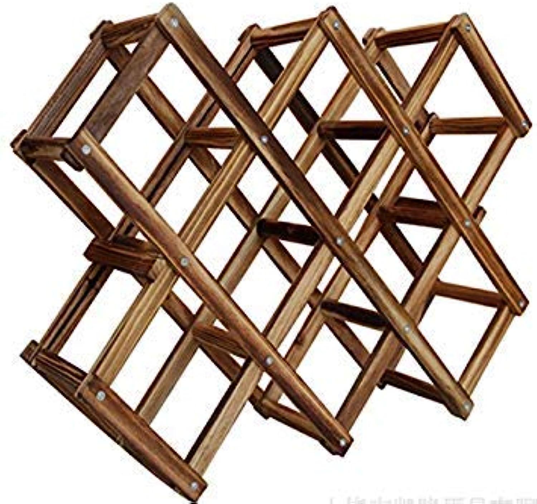 Generic 6bottles   1PC Roast color Wood Folding Wine Racks,Foldable Wine Stand Wooden Wine Holder 5 diffet Designs