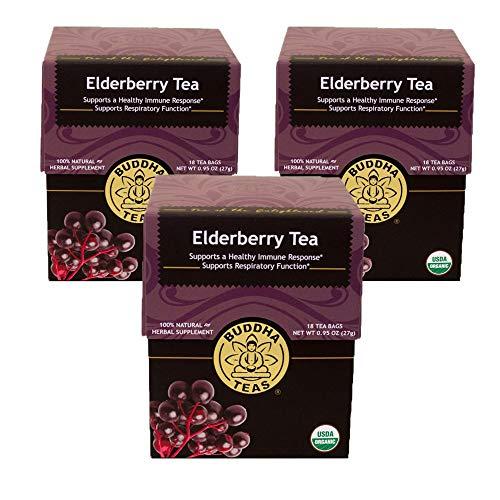 Organic Elderberry Tea - Kosher, Caffeine-Free, GMO-Free - 18 Bleach-Free Tea Bags (3 Pack)