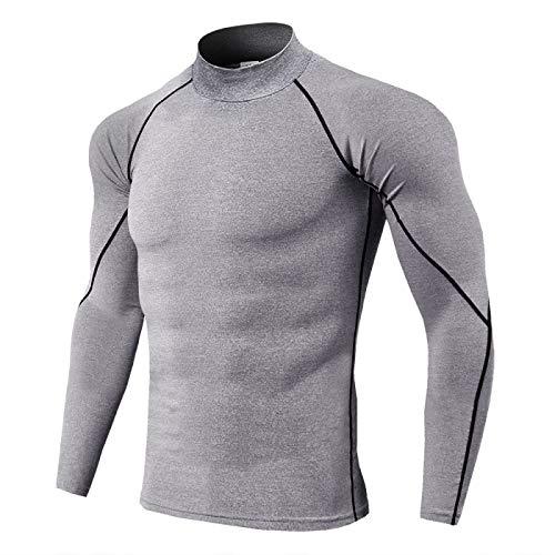 Camiseta Deportiva de Manga Larga con Cuello Alto para Hombre