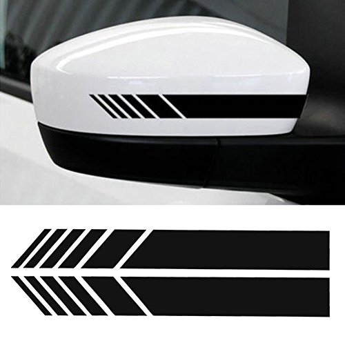 YOUNGFLY 2pcs Car Rear View Mirror Stickers Decor DIY Car Body Sticker Side Decal Stripe Decals SUV Vinyl Graphic Black