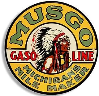 American Vinyl Round Vintage Musgo Gas Sticker (Gasoline Logo Old Rat Rod)