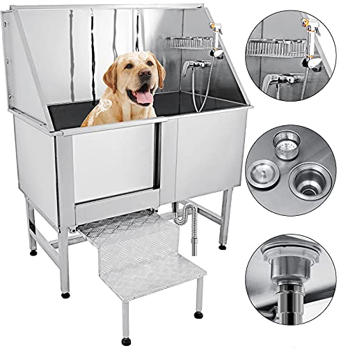 VEVOR 62 inch Professional Dog Grooming Tub Stainless Steel Pet Bathing Tub Large Dog Wash Tub with Faucet Walk-in Ramp Accessories Dog Washing Station Pet Bath Tub