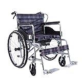 HHORD Silla De Ruedas Autopropulsada Plegable Ultraligera, Reposabrazos Cómodos, con Freno De Mano Y Cinturón De Seguridad para Ancianos, Discapacitados, Pro,A