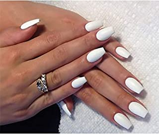 White Frosted 24Pcs False Nails Matte Full Cover Medium Ballerina Square Coffin Natural Fashion Acrylic Fake Nail for Wome...