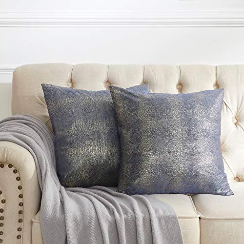 OMMATO Blau Kissenbezug 40x40 cm Silber Drucken Samt Kissenbezüge Dekorative Kissenhülle Dekokissen für Sofa Schlafzimmer Wohnzimmer 2 Stück