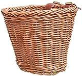HB.Ye hecho a mano pequeña cesta de bicicleta niña niño niño mimbre Vintage con correa de piel bicicleta 22x 18x 14cm, marrón