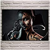 YKing1 Fantasy Girl Body Paint Portrait Canvas murals, Posters Living Room Home Wall Decorative Canvas Art Print  50x100cm unframed