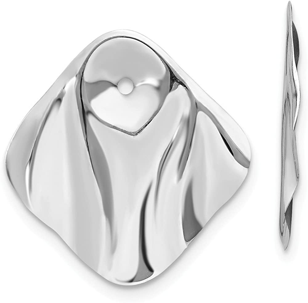 FB Jewels Solid 14K White Gold Polished Hammered Square Earring Jackets