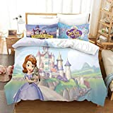 Princess Sofia The First Bedding Set for Girls Toddlers Queen Size Pink Duvet Cover Cartoon Warm Bed Quilt Cover Kids Bedroom Bed Cover Set