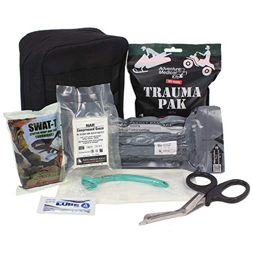 Ever Ready First Aid Meditac Tactical Trauma IFAK Kit with Trauma Pack Quickclot and Israeli Bandage in Molle Pouch Updated Version Featuring SWATT