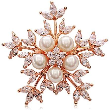 Uitstekend Snowflake sieraden kunstmatige parel jas trui passen kleren wilde sfeer vrouwelijke broche broche pin Accessoires ColorGold Size4141cm