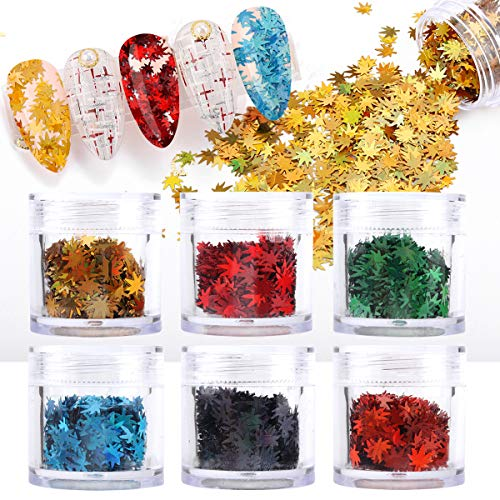 60 Grams Maple Leaf Nail Sequins Weed Leaf Nail Art Glitter Sequins, 6 Colors Holographic Fall Leaves Chunky Glitter Flakes Nail Art Sequin, Sparkly Cosmetic Flakes Sequins for Resin