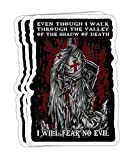 Knight Templar I Will Fear No Evil Psalm 234 Gift Decorations - 4x3 Vinyl Stickers, Laptop Decal, Water Bottle Sticker (Set of 3)