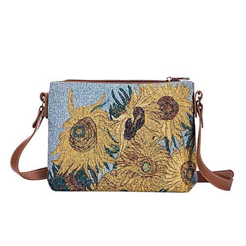 Signare Tapisserie Kunst Taschen, Umhängetasche Frauen, Umhängetasche Frauen, Einkaufstasche, Kosmetiktasche Inspiriert von van Gogh - Sonnenblumen (Umhängetasche)