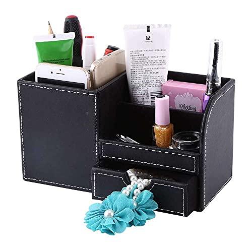 zhaita Caja de almacenamiento multifunción de cuero de Navidad Carnaval de madera, organizador de papelería de escritorio para bolígrafo/lápiz, teléfono celular, tarjetas de nombre de negocios