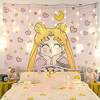 Valko shop Japanese Anime Sailor Moon Decor Wall Cloth Lovely Tapestry Home Decor Bedroom Decorative Tapestry Size   100cm×70cm ……  yellow