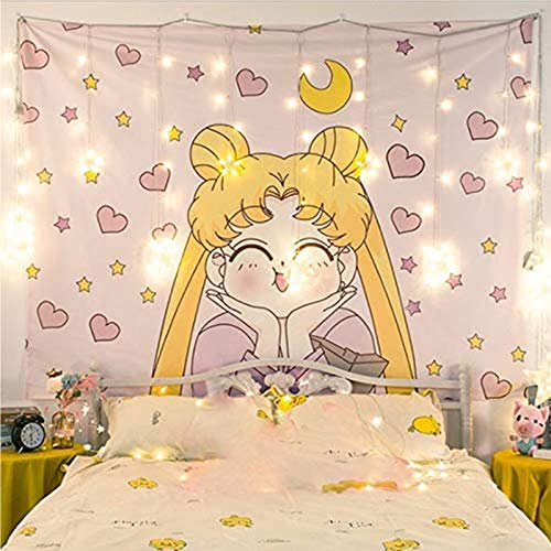 Japanese Anime Sailor Moon Decor Wall Cloth Lovely Tapestry Home Decor Bedroom Decorative Tapestry( Size : 100cm×70cm)