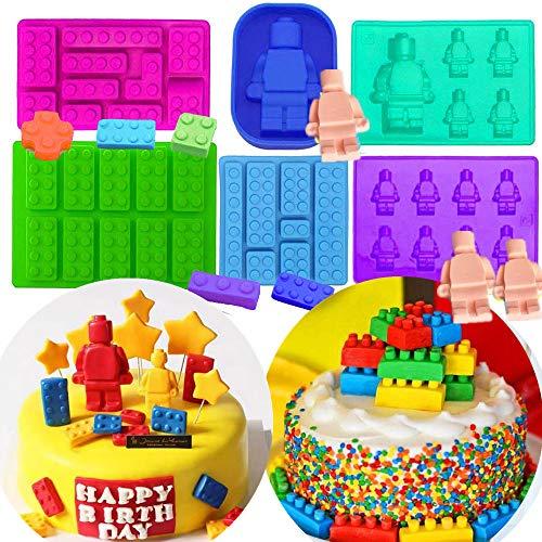 Set von 6 JeVenis Roboter-Formen Bausteine Silikonformen Bausteine und Roboter Form für Kuchen Dekoration Form Schokolade Gummi Süßigkeiten Kuchen Backform