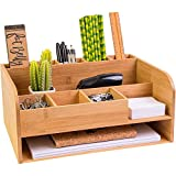 Bamboo Wood Desk Organizer with File Organizer for Office Supplies Storage & Desk Accessories. Perfect Office Decor combo for Desk Organization, Office Desks, Home Office and more by MissionMax