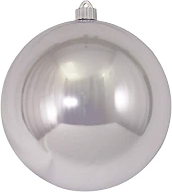 """Queens of Christmas 200MM 8"""" Shiny Silver Ball Ornament, 8"""""""
