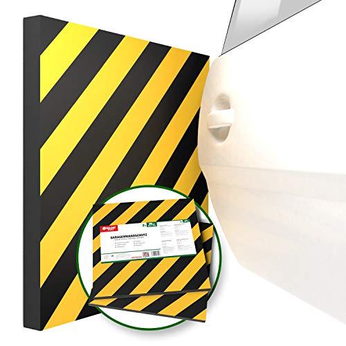 ATHLON TOOLS 2x XXL Garagen-Wandschutz mit Reflektor | je 50 x 50 cm |Selbstklebend |Rammschutz Prallschutz Garagenpolster Türkantenschutz (gelb/schwarz)