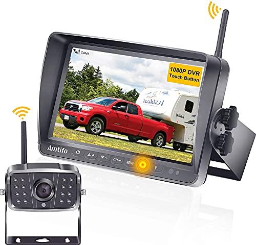 Rückfahrkamera Wohnmobil AMTIFO HD 1080P Drahtlose Rückfahrkamera Funk Kabellos Mit 7'' DVR Monitor, Unterstützt bis zu 4 kameras,Infrarot-Nachtsicht, signalstabile wasserdichte IP69K-Kamera - A8