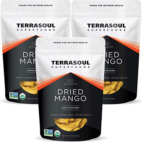 Terrasoul Superfoods Organic Dried Mango Slices, 3 Lbs (3 Pack) - Naturally Sweet & Tart   No-Added Sugar   Healthy Prebiotic