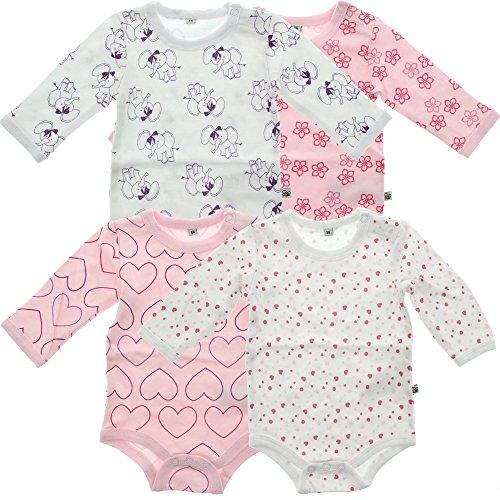 Pippi 4er Pack Kinder Mädchen Body mit Aufdruck, Langarm, Alter 2-3 Jahre, Größe: 98, Farbe: Rosa, 3819
